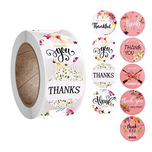 500 piezas/rollo/9500 piezas/rollo de 9 estilos redondos florales de agradecimiento para bodas, fiestas, álbumes de recortes, etiquetas de sellado para decoración de sobres.