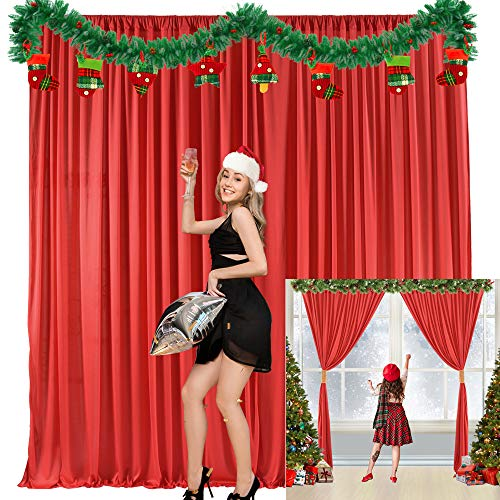 Red Backdrop Curtain for Parties Christmas Weddings Birthday Photography Drape Backdrop with Golden Curtain Tiebacks 5ft x 7ft (Pack of Two)