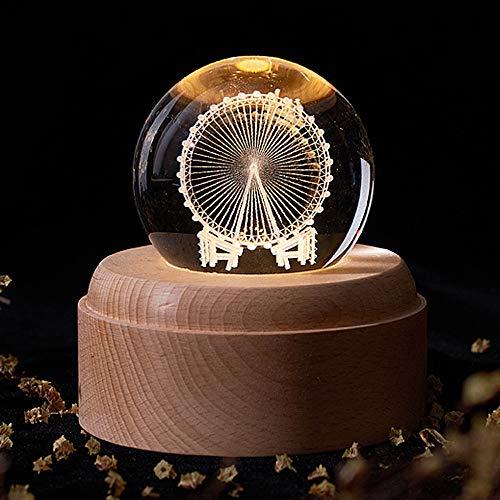 HSJLH 3D LED luz de la Luna, la Noche Caja de música Ligera, una Bola de Cristal de la Estrella Que Gira el Interruptor mecánico lámpara Cama Creativa romántico para Bodas cumpleaños de Navidad,J