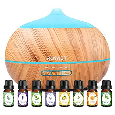 Essential Oil Diffuser, 500ml Diffusers for Essential Oils with Essential Oil Set, Ultrasonic Aroma Diffuser Humidifier Waterless Auto-Off for Office Home Yoga