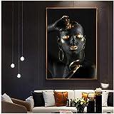 QIAOB Mural de Lienzo, Mujer Africana Negra con Dedos y Labios Dorados, Pintura en Lienzo, Maquillaje de Pared, Cuadros artísticos de Pared, sin Marco