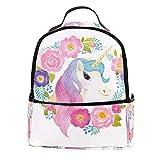 TIZORAX - Mochila de unicornio con flores para ordenador portátil, mochila casual...