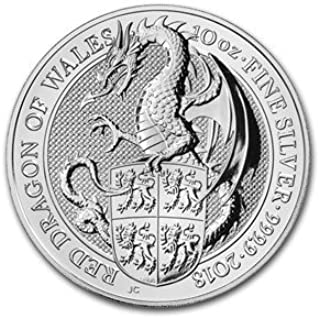 2018 UK 10 oz Queen's Beasts The Dragon G$10 Brilliant Uncirculated