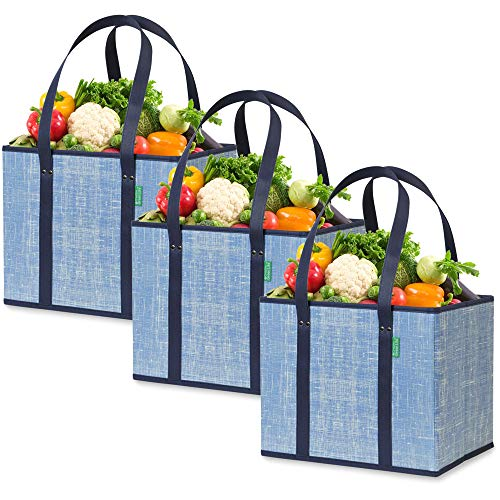 Reusable Grocery Shopping Box Bags (3 Pack - Denim Blue) Large, Premium Quality Heavy Duty Tote Bag Set with Extra Long Handles & Reinforced Bottom. Foldable, Collapsible, Durable and Eco Friendly
