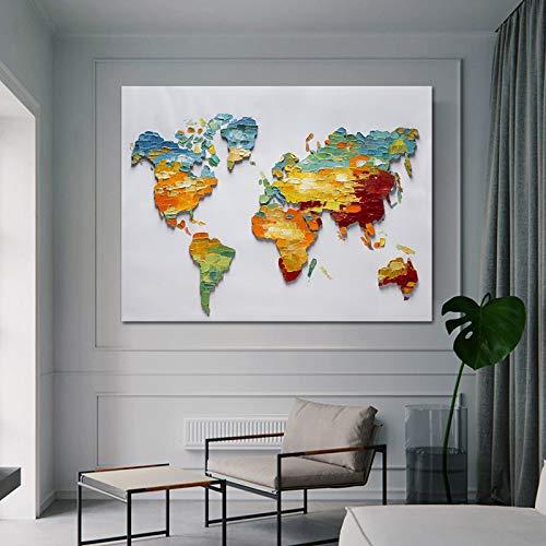 WSNDGWS Colorido Mapa del Mundo Vintage Gran Obra de Arte Moderno Imagen Abstracta del Paisaje sobre Lienzo Pintado Sala de Estar Dormitorio decoración para el hogar Mural