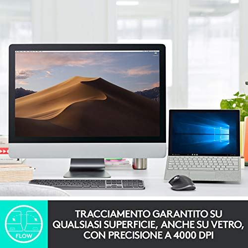 Logitech MX Keys Tastiera Wireless Illuminata Avanzata, Bluetooth, Digitazione tattile, Tasti Retroilluminati, USB-C, PC/Mac/Laptop Windows/Linux/iOS/Android, Layout Inglese QWERTY, Nero Grafite