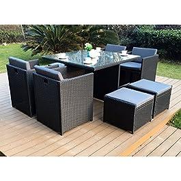 CONCEPT USINE – Salon De Jardin Miami 8 Personnes en Résine Tressée Noir Poly Rotin – 1 Table en Verre – 4 Fauteuils – 4…
