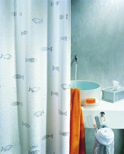 """Spirella Anti-Schimmel Duschvorhang - Anti-Bakteriell, waschbar, wasserdicht, Polyester, """"Kos"""" 180x200cm Weiß"""