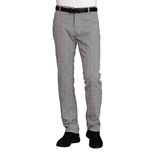 Leiber Jeans-Kochhose für Damen & Herren, Schwarz/Weiß-Pepita, 46