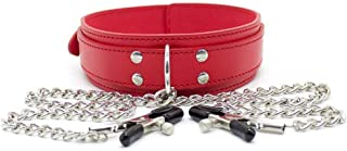 MXD Couple Flirting Toys Comfortable Leather Collar with Iron Chain Nipplè Clip Safety for Women T-Shirt