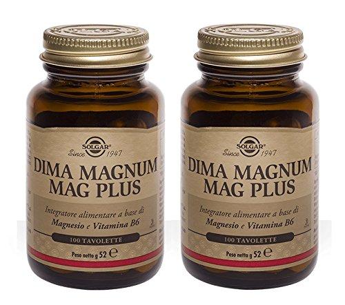 SOLGAR - DIMA MAGNUM MAG PLUS 100 TAVOLETTE - 2 CONFEZIONI  magnesio ossido  vitamina B6  sistema nervoso  stanchezza  affaticamento