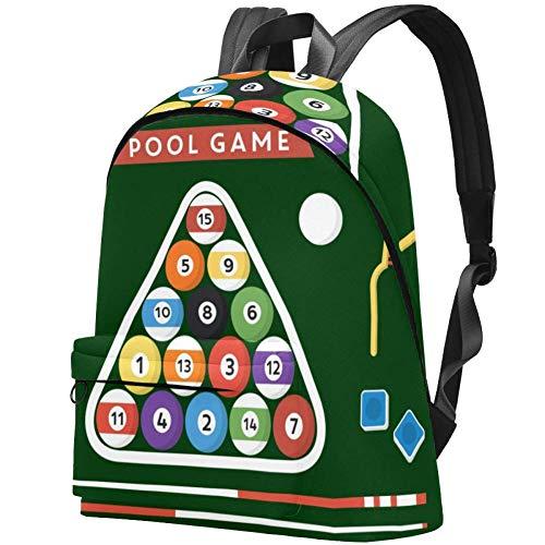 Billard Poster Pool Hall Acht Ball Bag Teens Student Bookbag Leichte Umhängetaschen Reiserucksack Tägliche Rucksäcke