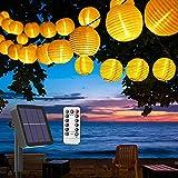 BACKTURE Catena Luminosa Solare, 6.3M Luce Stringa Solare con 30 LED e 3 lanterne di ricambio, IP65 Impermeabili e 8 Modalità, Catena Luci di Esterno e Interno per Festa, Natale, Giardino