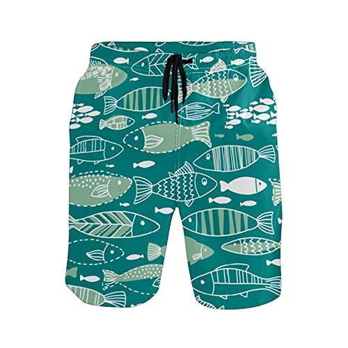 Pantalones de playa para hombre con diseño de peces de animales subacuáticos - - X-Large