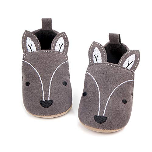 Save Beautiful Cute Cartoon Infant Unisex Baby Warm Cotton Anti-Slip Soft Sole First Walkers Shoes (0-6 Months M US Infant, Gray Fox)