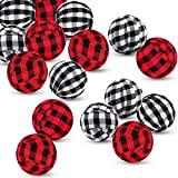 12 Pieces Buffalo Check Fabric Wrapped Balls Valentine's Day Gingham Bowl Fillers for Valentine's Day Party Farmhouse Home Holiday Decoration, 2 Inch