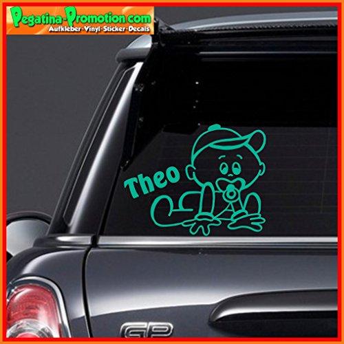 """Hochwertiger Namens Aufkleber \"""" Theo \"""" Autoaufkleber Name Aufkleber Wandtattoo Aufkleber für Glas,Lack,Tür und alle glatten Flächen, viele Farben zur Auswahl,Auto Sticker Baby an Bord, Kindername,Namensaufkleber"""