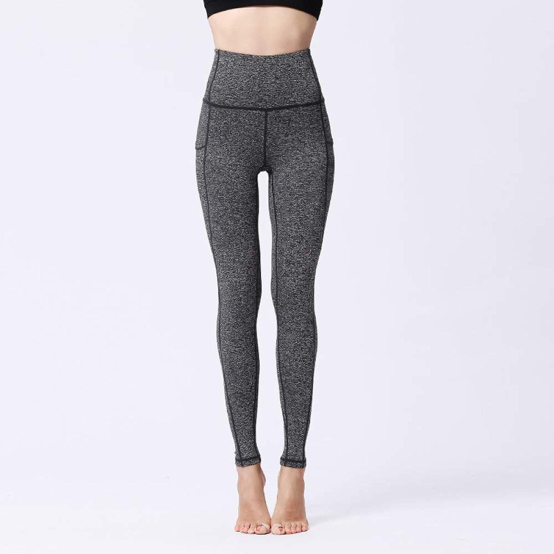 High Waist Leggings Ladies Tights Strength Stretch Yoga Pants Slim Sports Trousers,GreyM