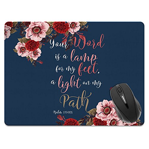 Extra Large (X-Large) Size Non-Slip Rectangle Mousepad, FINCIBO Christian Bible Verses Psalm 119:105 Mouse Pad for Home, Office and Gaming Desk