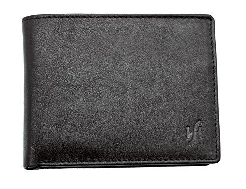 STARHIDE Mens RFID Portafoglio blocco in pelle nappa con cerniera e cerniera moneta 110 (nero)