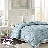 Madison Park Windom Microfiber Down Alternative Stain Resistant Blanket, Full/Queen, Blue