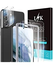 Lewellery K 5-pack skärmskydd för Samsung Galaxy S21 Plus 5G 6,7 tum med 2-pack härdat glas och 3-pack kameralinsskydd – 9H hårdhet bubbelfri enkel installation skyddsfilm