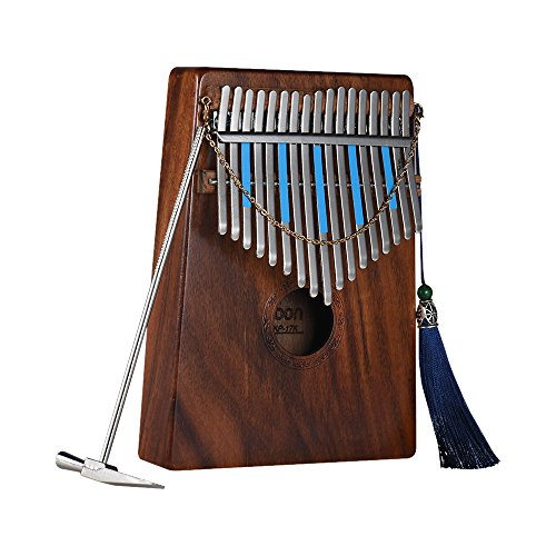 ammoon Kalimba, Thumb Piano 17 teclas, Para Amantes de la Música Principiantes, con Decoraciones de borlas, Pegatinas de Escala Musical, etc