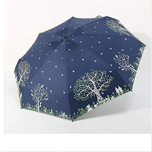 NJSDDB paraplu Zonnescherm winddichte vrouwen Paraplu strand parasols Regen vrouwen zon waterdicht kleine super mini 5 Vouw parasol zon Paraplu vrouwelijke, Geluk boom-marine