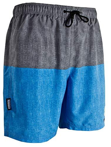 GUGGEN Mountain Badehose für Herren Schnelltrocknende Badeshorts 1606 mit Kordelzug Beachshorts Boardshorts Schwimmhose Männer mit Streifen Blau XXXL