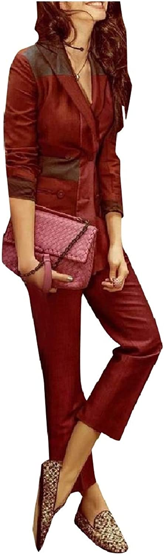 Coolhere Women color Splice Tenths Pants Party Blazer 2Piece Suits Set