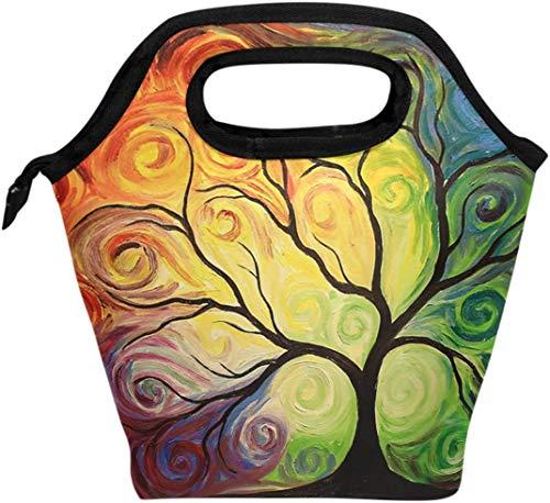 Bolsa de almuerzo colorida con rama de árbol de arco iris, flores aisladas, enfriador térmico, reutilizable, abstracto, árbol de la vida, verano, primavera, otoño, lonchera, bolso portátil para hombr