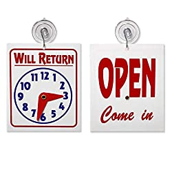 Double SidedWill Return Clock andOpen Come in Sign with Adjustable Clock Hands & Suction Cup, 1 Unit