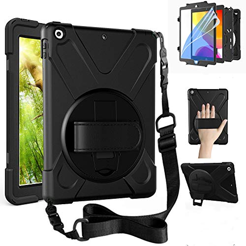 ZenRich New iPad 8th Generation Case 2020 iPad 7th Generation 10.2 Case with Screen Protector Kickstand Hand Strap and Shoulder Strap, zenrich Case for iPad 10.2 inch A2197/A2198/A2200, Black