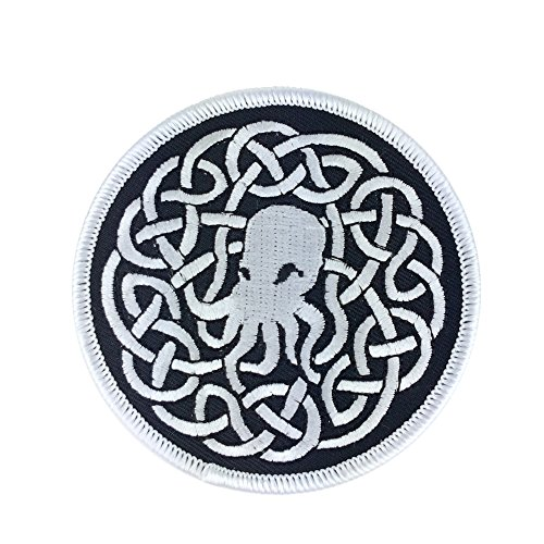 White Celtic Cthulhu Knot Embroidered Patch