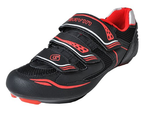 Gavin Men's VELO Road Bike Cycling Shoe, Black/Red, 41 EU