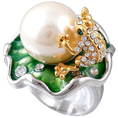 Claire Jin Modische Ringe Für Damen Lotus Blatt Frosch Glänzend Strass Platin Überzogen Simulierte Perle Schmuck
