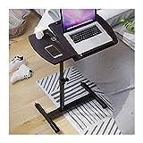 FGDSA Mesa De Cama con Ruedas Escritorio Portátil Inclinable para Computadora Portátil, Carro con Tablero para Mouse, Altura Ajustable De 62 A 95 Cm (Color: Negro)