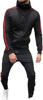 Mens Tracksuit 2PC Set Patchwork Sweatshirt Pant Hooded Sports Suit