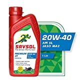 SAVSOL 4T 20W-40 Engine Oil for High Performance Four Stroke Bikes (1 LTR)