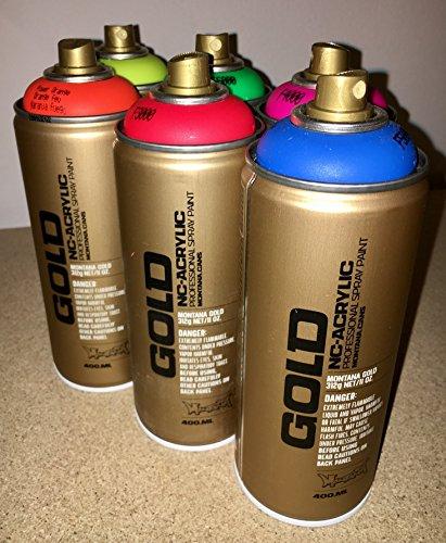 Montana Gold - set di 6 bombolette spray neon fluorescenti da 400 ml