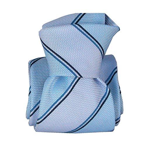 Segni et Disegni. Cravate classique. Naval, Soie. Bleu, Club/rayé. Fabriqué en Italie.