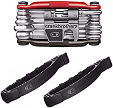 Crank Brothers Multi Bicycle Tool (19-Function M19, Black/Red) with Two Crank Brothers Tire Speedier Levers