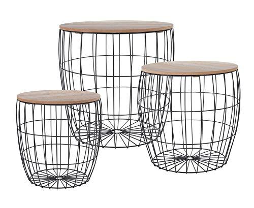 Metalen bijzettafel met opbergruimte - set van 3 - salontafel salontafel woonkamer tafel zwart