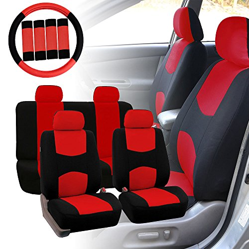 FH Group FB050114 Flat Cloth Seat Covers (Red) Full Set with Gift – Universal Fit for Cars Trucks & SUVs