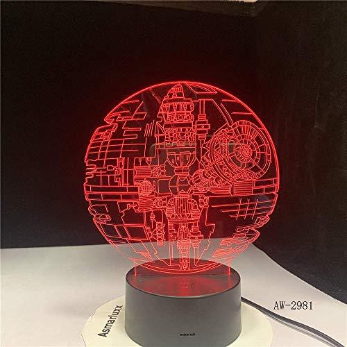 Lámpara de ilusión 3D Luz de noche LED Star War Fans Regalos Death Star Darth Vader Master Yoda Jedi Leader 7 colores Gradient Gifts Mejor cumpleaños para niños Regalos de vacaciones