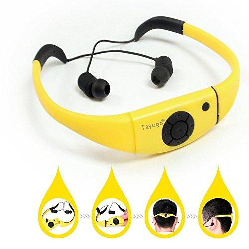 Tayogo 8GB Waterproof MP3 Player Swimming Headphone with Shuffle Feature - Yellow