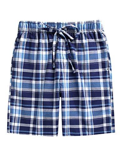 TINFL Men's Plaid Check Cotton Lounge Sleep Shorts MSP-SB010-Blue S