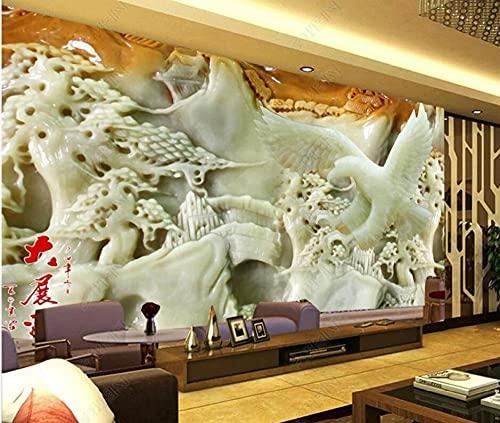Pared Papel Pintado Dormitorio Salon Decoración de Paredes Efecto De Talla De Jade Pino Águila Voladora Fotomurales Decorativos Papel Tapiz Custom Murales 250x175cm