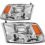 DNA Motoring HL-OH-DR09QUA-CH-AM Chrome Amber Headlights Replacement For 09-18 Ram