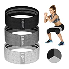 "NO ROLLING, PINCHING, SLIDING OR DISCOMFORT - Engineered with comfortable touch blend and built in grips, you won't have ""roll up""or ""snap"" problem during exercise with the Te-Rich fabric resistance bands, which might happen while using Rubber exerci..."